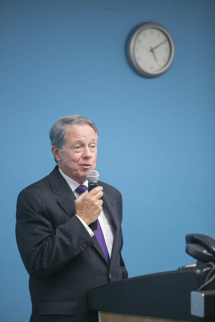 John F. O'Reilly, Chairman of the Nevada Medical Center, speaks during the launch of Nevada Medical Center's Nevada Healthcare Report Card at the Delta Point community health center in Las  ...