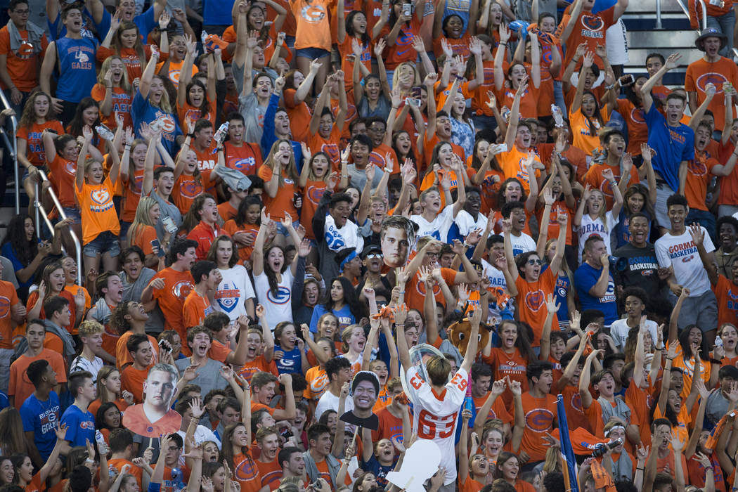Bishop Gorman's fans cheer on their team against DeMatha Catholic in their football game at Bishop Gorman High School in Las Vegas, on Friday, Aug. 25, 2017. Gorman won 35-23. Erik Verduzco Las Ve ...