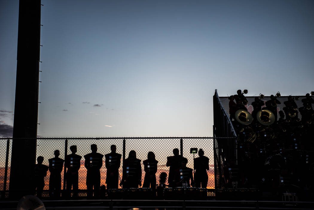 The Las Vegas High School Marching Band sits in the bleachers during the game at Las Vegas High School on Friday, Aug. 25, 2017, in Las Vegas. Morgan Lieberman Las Vegas Review-Journal