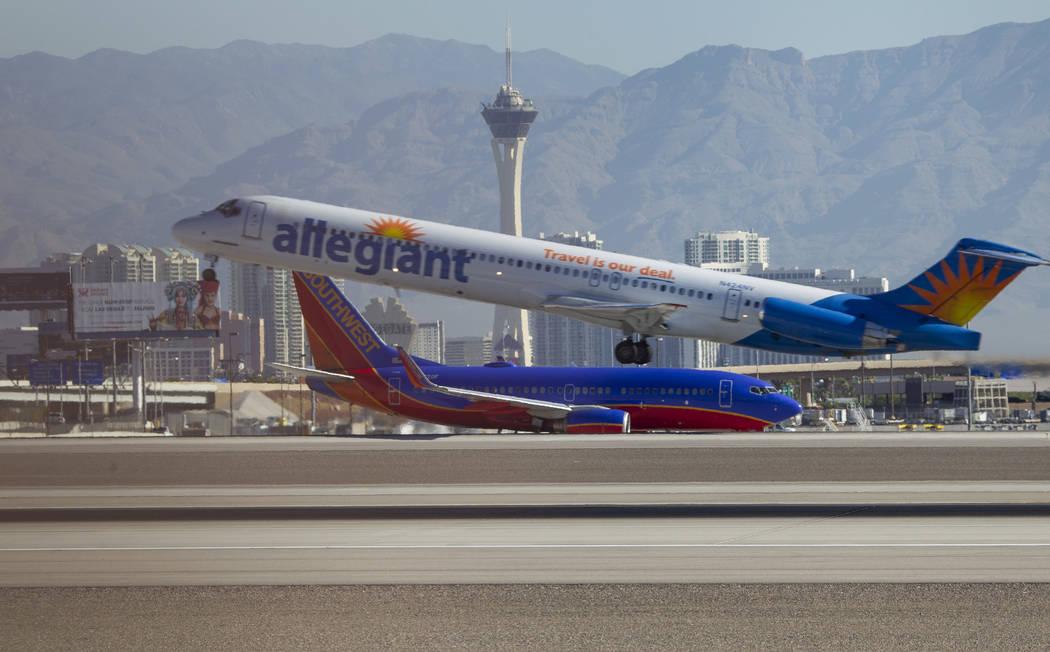 An Allegiant Air jetliner departs from McCarran International Airport in Las Vegas on Wednesday, June 28, 2017. Richard Brian Las Vegas Review-Journal @vegasphotograph