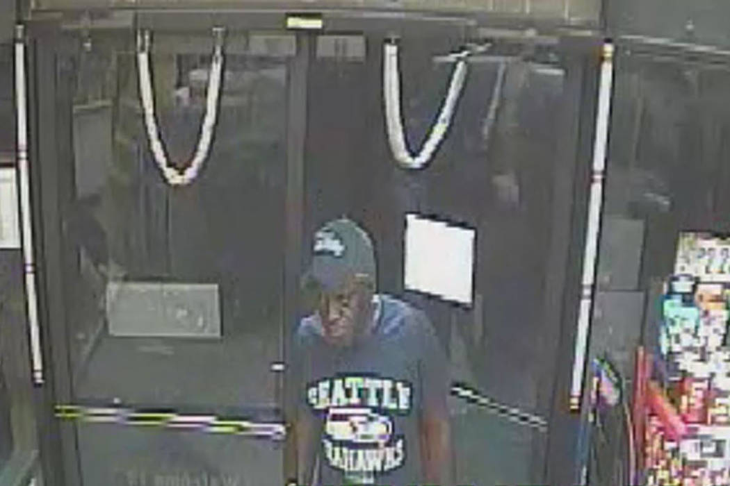 Police are looking for a suspect in a robbery that occurred in the 3700 block of South Nellis Boulevard early Tuesday, Aug. 22, 2017. (Las Vegas Metropolitan Police Department)