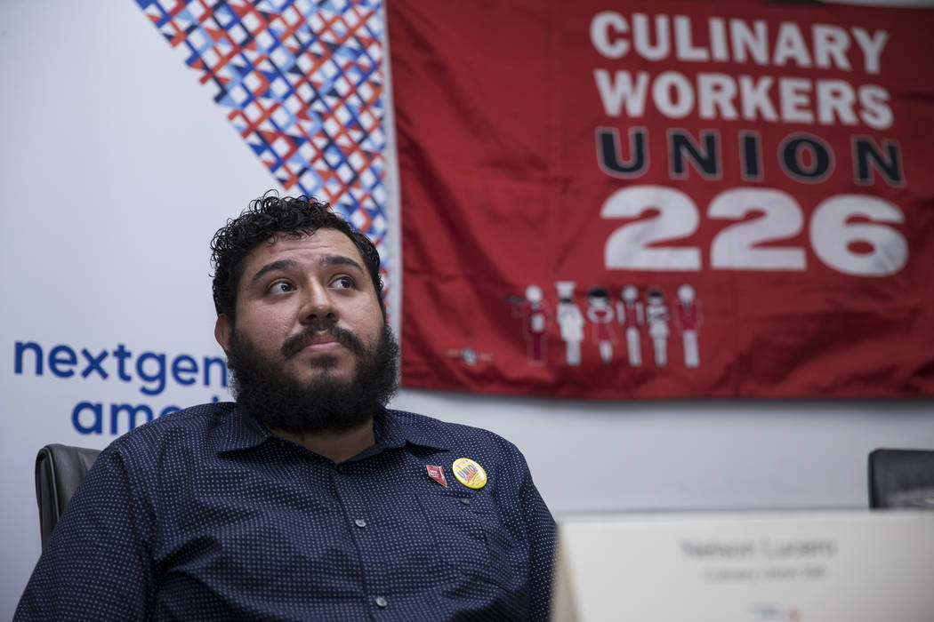 Nelson Lucero, culinary union member, during a press conference on immigration at the Culinary Workers Union Local 226 in Las Vegas, on Wednesday, Aug. 23, 2017. Erik Verduzco Las Vegas Review-Jou ...