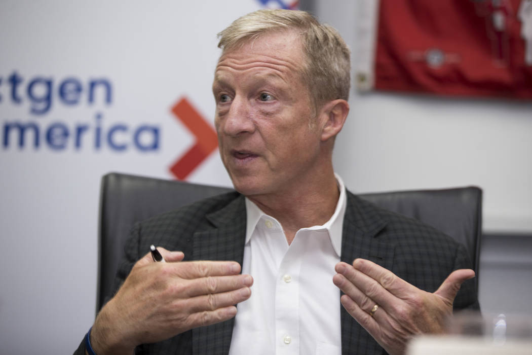 Tom Steyer, founder of NextGen America, during a press conference on immigration at the Culinary Workers Union Local 226 in Las Vegas, on Wednesday, Aug. 23, 2017. Erik Verduzco Las Vegas Review-J ...