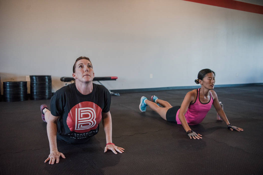 Elizabeth Higgins trains with Leah Elmquist at Branded One Cross Fit on Thursday, Aug. 25, 2017, in Las Vegas. Morgan Lieberman Las Vegas Review-Journal