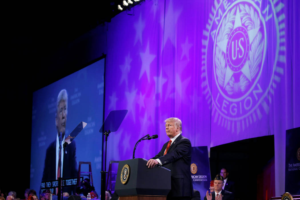 President Donald Trump speaks to the National Convention of the American Legion in Reno, Aug. 23, 2017. (Joshua Roberts/Reuters)