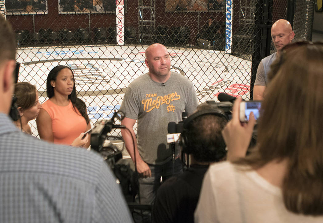 UFC president Dana White speaks to media about UFC light heavyweight champion Jon Jones' potential doping violation at The Ultimate Fighter gym in Las Vegas, Tuesday, Aug. 22, 2017. Heidi Fang Las ...