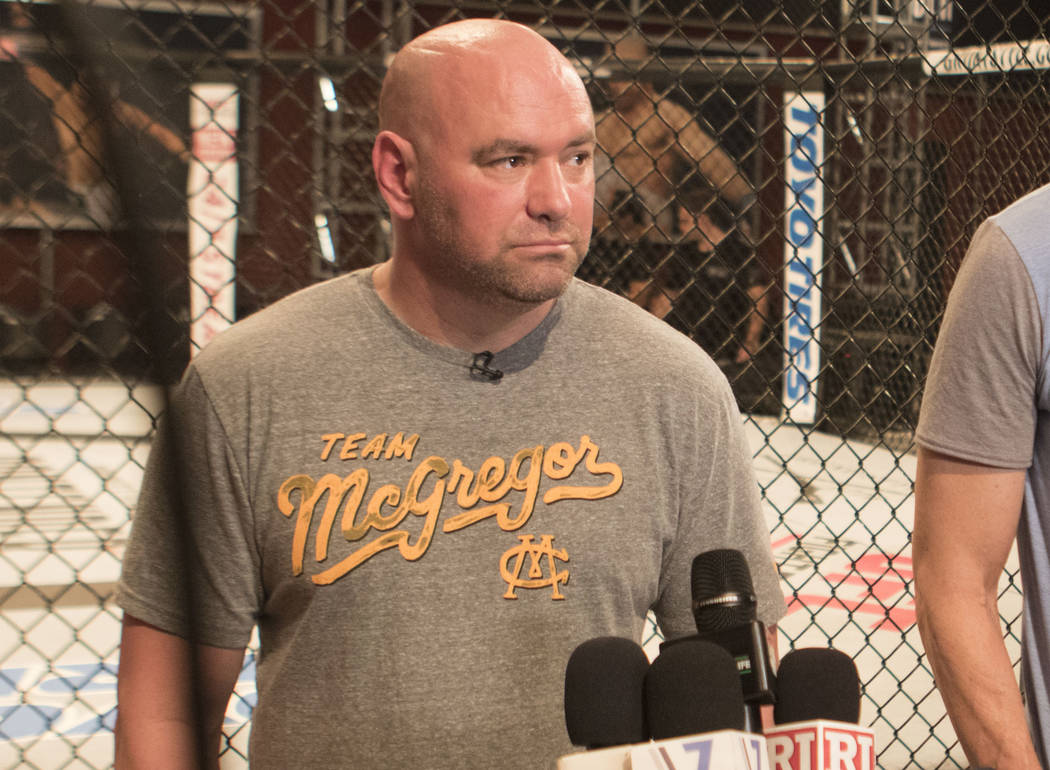 UFC president Dana White joins the media to discuss UFC light heavyweight champion Jon Jones' potential violation with the anti-doping agency, USADA, in Las Vegas, Tuesday, Aug. 22, 2017. Heidi Fa ...