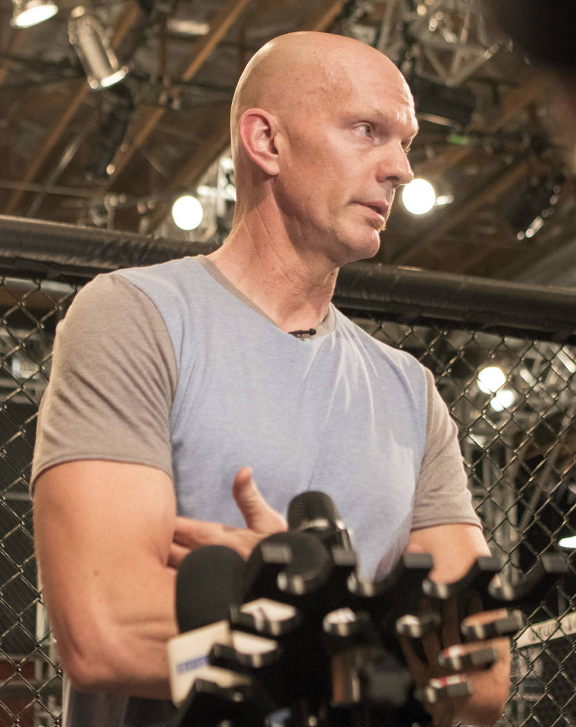 Vice President of Athlete Health and Performance Jeff Novitzky addresses the media following UFC light heavyweight champion Jon Jones being flagged by USADA for a potential violation in Las Vegas, ...