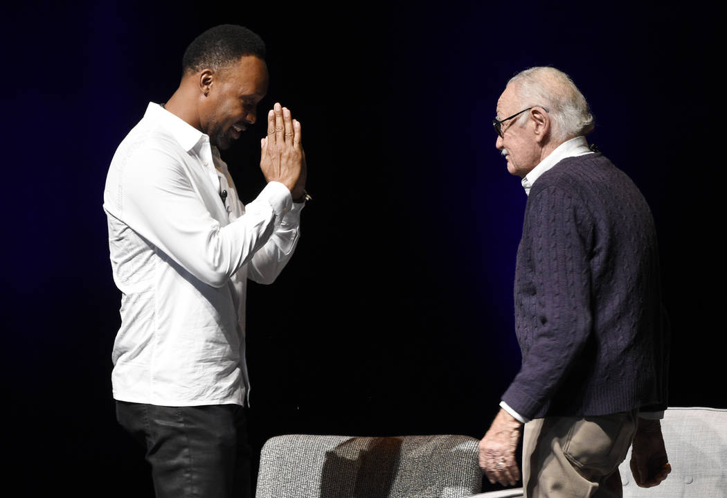 """Musician RZA, left, salutes comic book writer Stan Lee onstage at the """"Extraordinary: Stan Lee"""" tribute event at the Saban Theatre on Tuesday, Aug. 22, 2017, in Beverly Hills, Ca ..."""