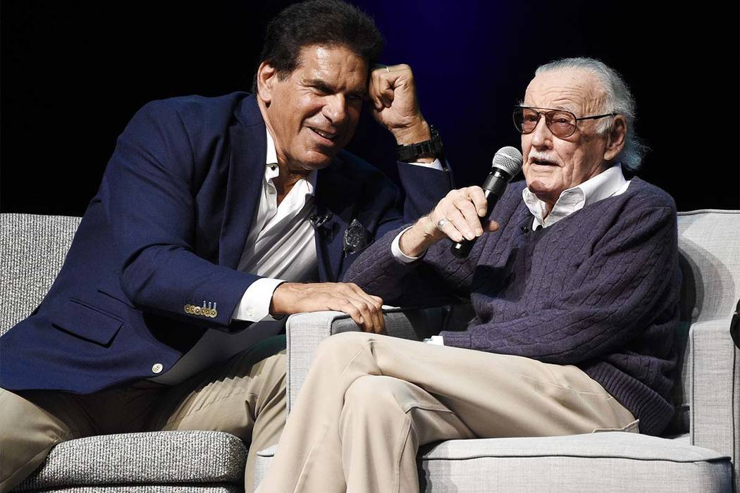 """Comic book writer Stan Lee, right, is joined by actor Lou """"The Hulk"""" Ferrigno onstage at the """"Extraordinary: Stan Lee"""" tribute event at the Saban Theatre on Tuesday, Aug. 22, 2017, in Beverly Hill ..."""