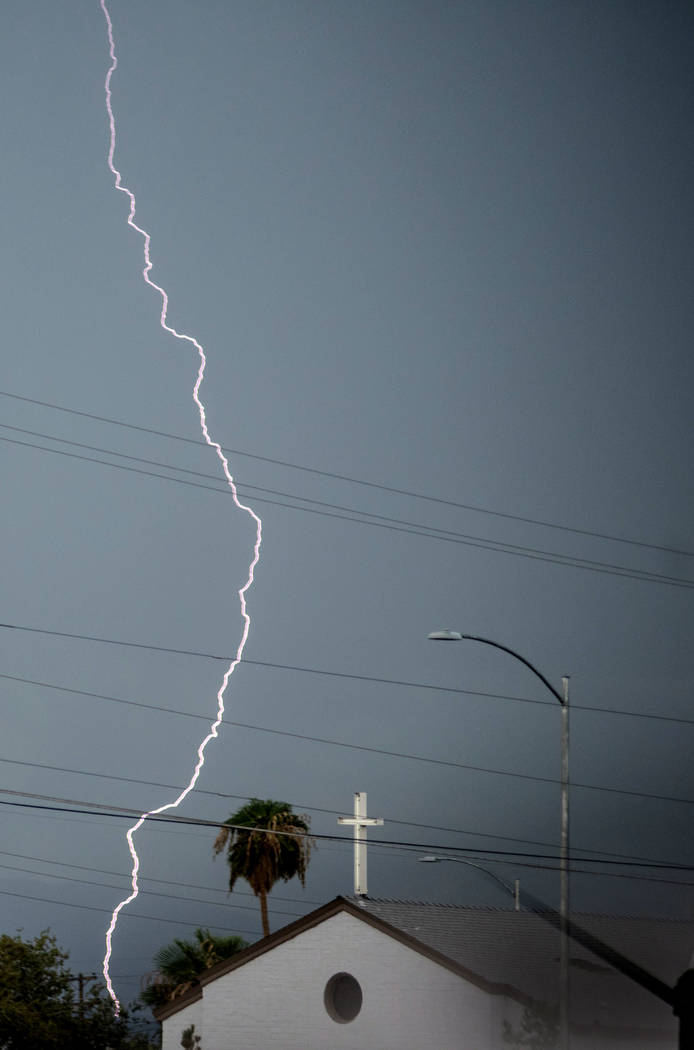 Lightning strikes near North Las Vegas on Wednesday, Aug. 23, 2017. Morgan Lieberman Las Vegas Review-Journal