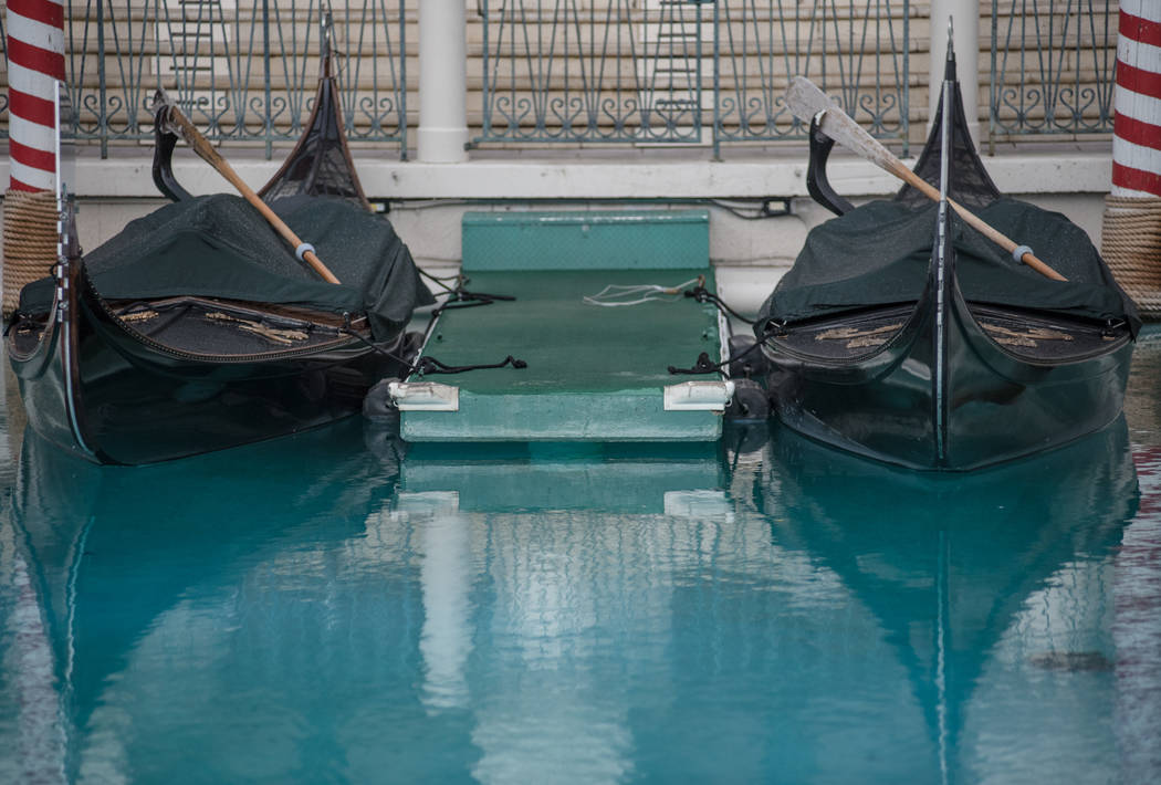 Gondolas are covered up because of heavy afternoon rain on Wednesday, Aug. 23, 2017, at The Venetian in Las Vegas. Morgan Lieberman Las Vegas Review-Journal