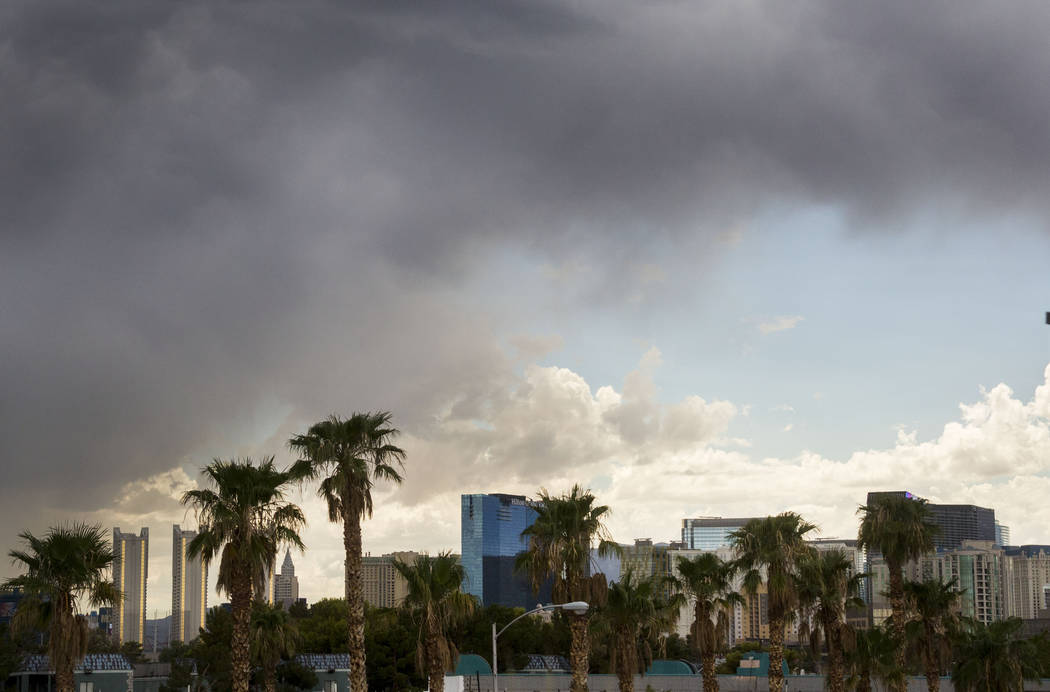 Sky quickly changes over the Las Vegas Strip in Las Vegas, Wednesday, Aug. 23, 2017. (Elizabeth Brumley/Las Vegas Review-Journal)
