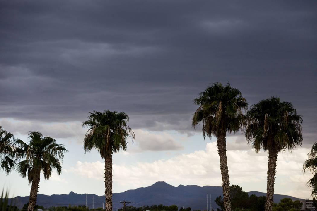 Sky quickly changes on Twain Avenue and Cambridge Street in Las Vegas, Wednesday, Aug. 23, 2017. (Elizabeth Brumley/Las Vegas Review-Journal)