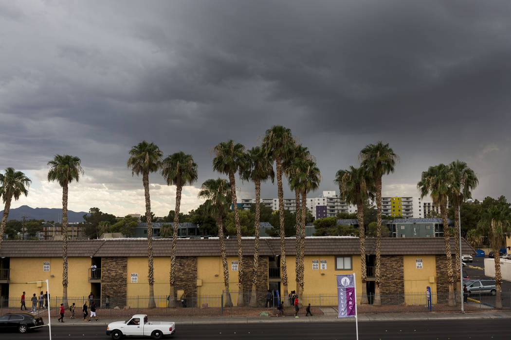 Sky quickly changes on Twain Avenue and Cambridge Street in Las Vegas, Wednesday, Aug. 23, 2017. Elizabeth Brumley Las Vegas Review-Journal
