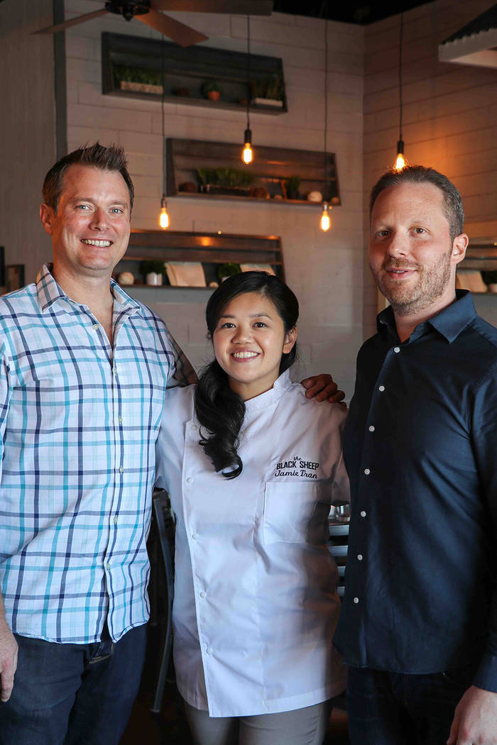 Executive Chef Jamie Tran partnered with hospitality veterans Andy Hooper, left, Jon Schwalb, right, to open The Black Sheep on Spring Mountain Road. (Madison Freedle)