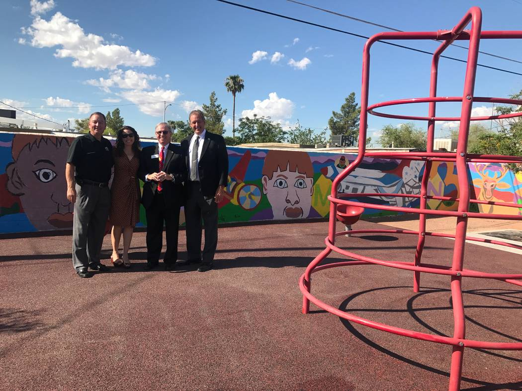 From left, City of North Las Vegas Director of Neighborhood and Leisure Services Cass Palmer, Outside Las Vegas Foundation Executive Director Mauricia Baca, Wells Fargo Nevada Regional Preaident K ...