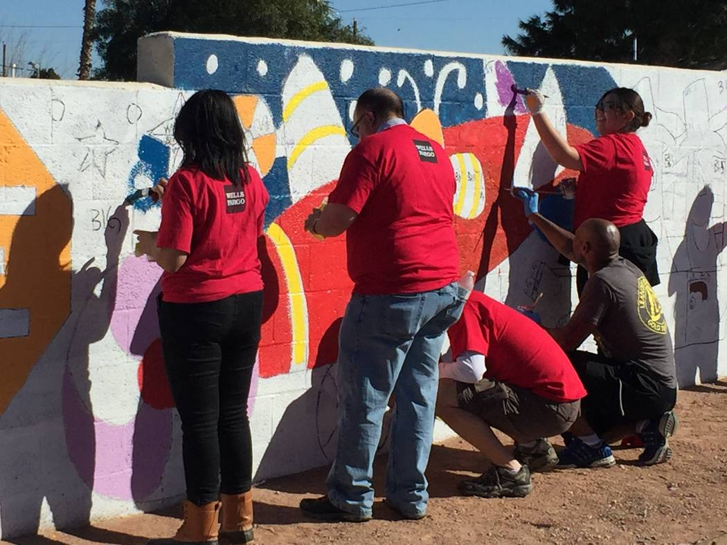 More than 50 people volunteered to paint murals and make other improvements to a North Las Vegas mini-park March 2 at Brooks Tot Lot, 1421 E. Brooks Ave. (Courtesy)