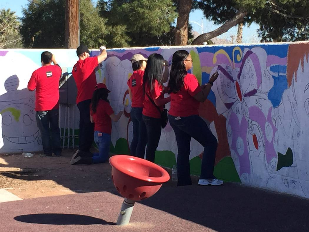 Volunteers painted murals and made other improvements to a North Las Vegas mini-park March 2 at Brooks Tot Lot, 1421 E. Brooks Ave. as part of Wells Fargo's NeighborhoodLIFT program. (Courtesy)