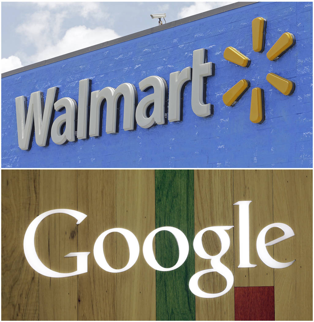 A Google sign at a store on Aug. 7, 2017, in Hialeah, Fla., bottom, and a Walmart sign on June 1, 2017, in Hialeah Gardens, Fla. Walmart, the world's largest retailer, said Wednesday, Aug. 23, t ...