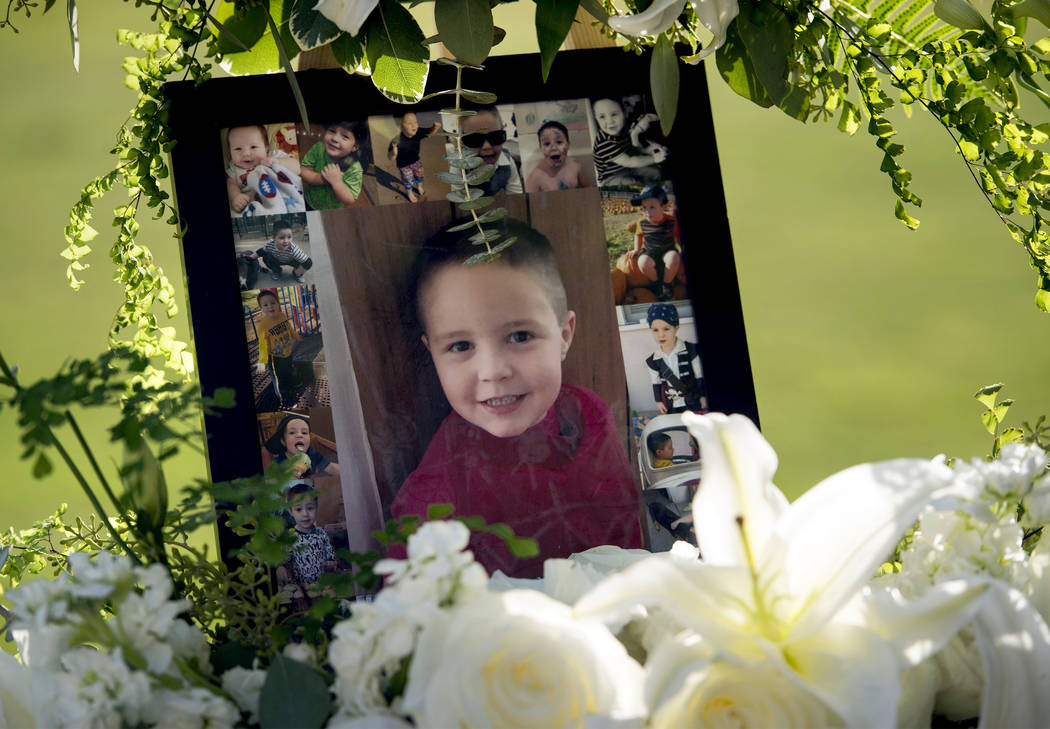 A portrait of 5-year-old Aramazd Andressian Jr. at a memorial service at the Los Angeles County Arboretum in Arcadia, Calif. on July 19, 2017. (Leo Jarzomb /Los Angeles Daily News/SCNG via AP, File)