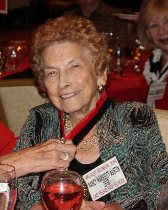 Nancy Marriott Austin, class of 1939, at the 2016 Las Vegas High School Reunion.