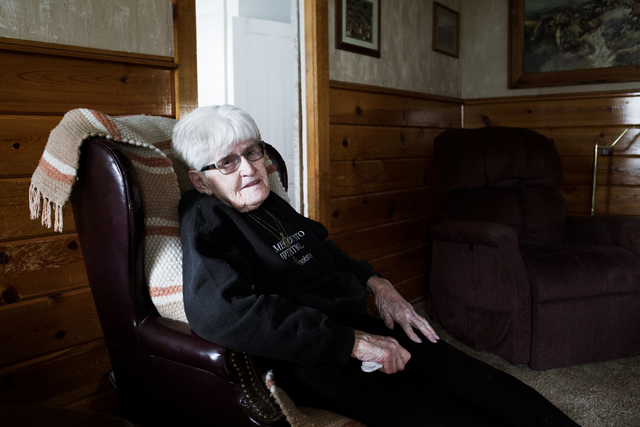 Lina Sharp, 96, sits in her home in Railroad Valley, Nev.,100 miles east of Tonopah, on Friday, April 8, 2016. Randi Lynn Beach/Las Vegas Review-Journal