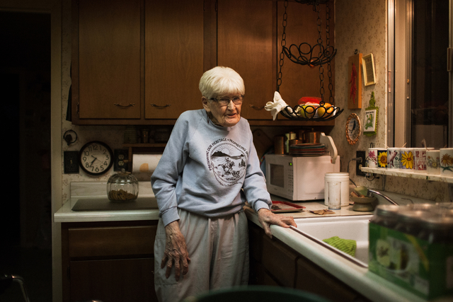 Lina Sharp, 96, prepares a snack before bed in her home in Railroad Valley, Nev.,100 miles east of Tonopah, on Friday, April 8, 2016. Randi Lynn Beach/Las Vegas Review-Journal