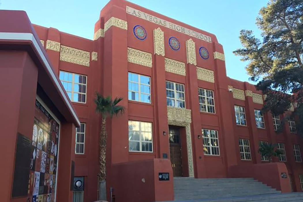 A building on the 80-year-old campus of Las Vegas Academy of the Arts, formerly Las Vegas High School, is shown in this 2015 photo. (Bizuayehu Tesfaye/Las Vegas Review-Journal)