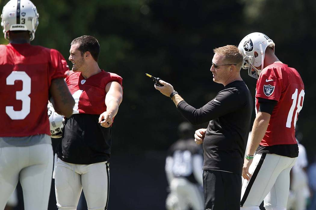The Oakland Raiders offensive coordinator Todd Downing, second right, talks to back up quarterbacks Ej Manuel (3), Connor Cook (18) and quarterback Derek Carr, second left, during the second day o ...