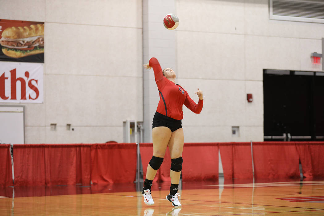 UNLV volleyball senior Lia Herlosky hits the ball in the team's Scarlet & Gray Scrimmage at the Cox Pavilion on August 18. (UNLV Athletics)