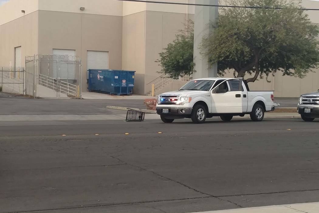 Las Vegas police investigate a hit-and-run on Harmon Avenue near Valley View Boulevard on Tuesday morning, Aug. 15, 2017. (Max Michor/Las Vegas Review-Journal)