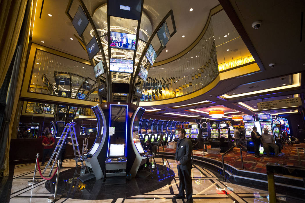 A security officers stands guard in the new casino entrance at the Golden Gate hotel-casino on Thursday, Aug. 25, 2017, in downtown Las Vegas. Richard Brian Las Vegas Review-Journal @vegasphotograph