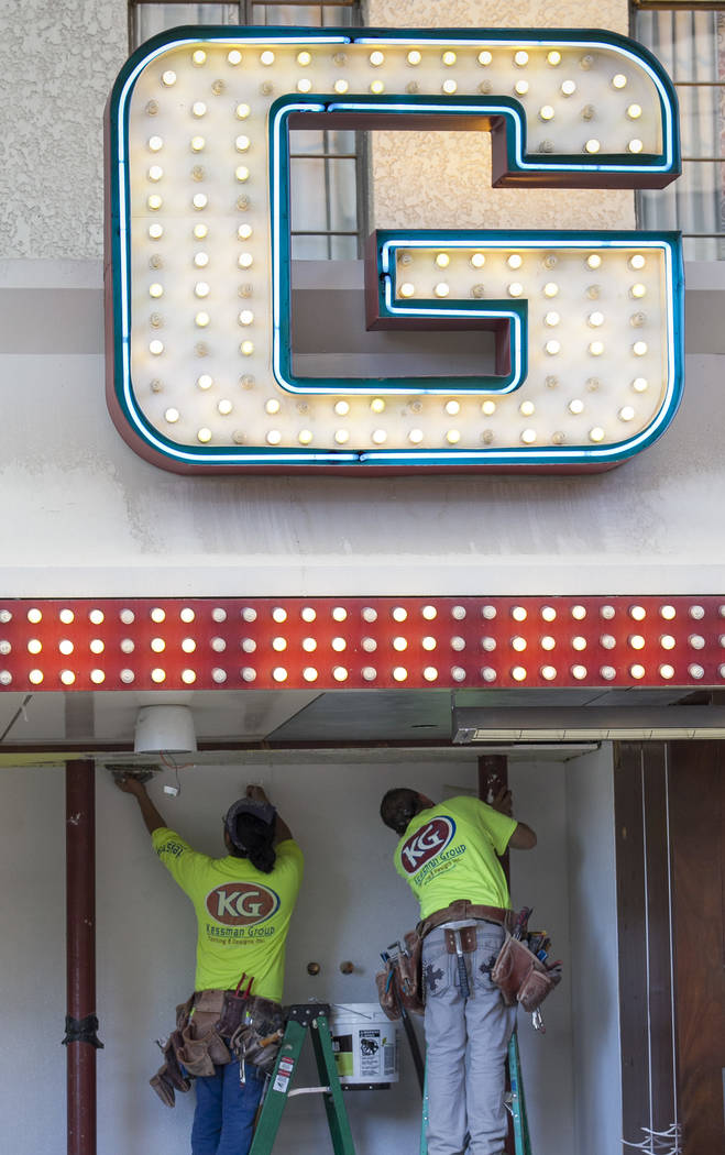 Workers smooth out drywall spackle above the outdoor bar during renovations at the Golden Gate hotel-casino on Thursday, Aug. 25, 2017, in downtown Las Vegas. Richard Brian Las Vegas Review-Journa ...