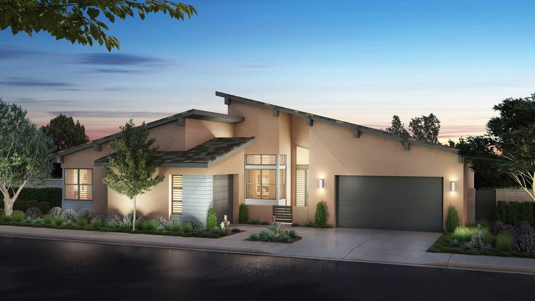 Pardee Homes' Nova Ridge neighborhood will open Sept. 23 and marks a return to Summerlin for the builder. Shown is a rendering of Nova Ridge Plan 1-A in the Mid Century Modern elevation. (Pardee ...
