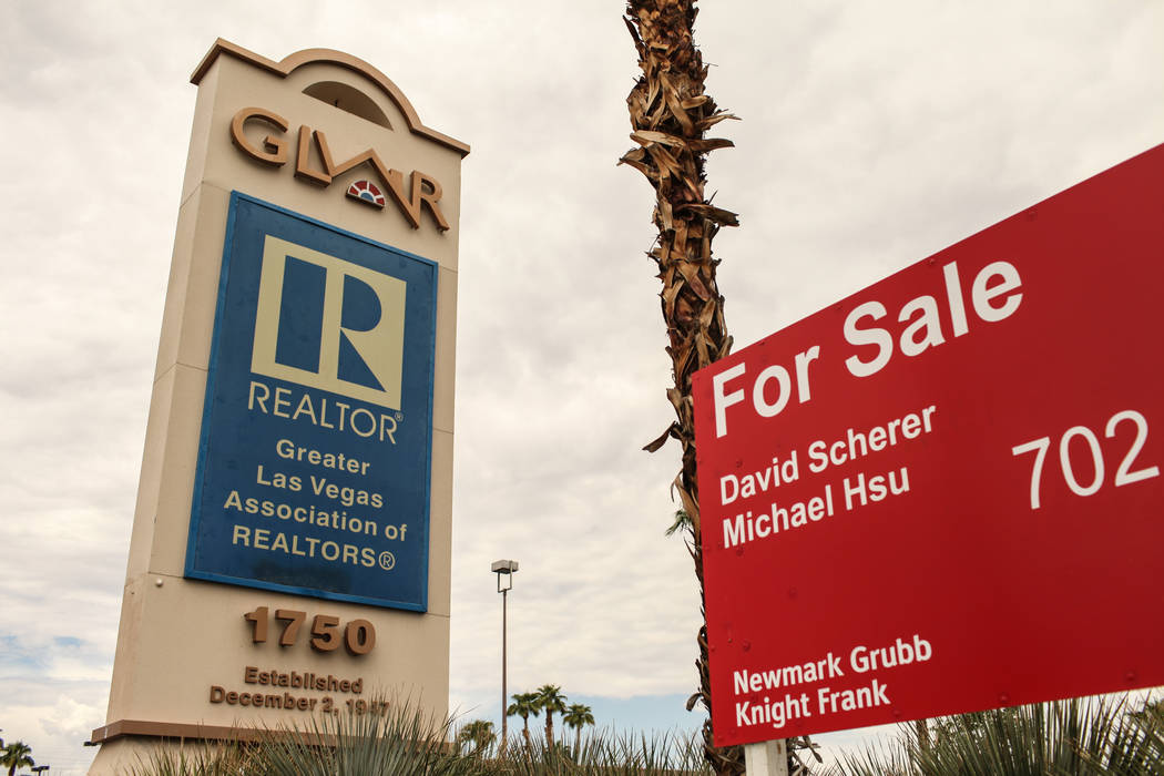 A for sale sign is posted outside the Greater Las Vegas Association of Realtors office on East Sahara Avenue in Las Vegas on Aug. 24, 2017. The property was recently sold to a construction union.  ...