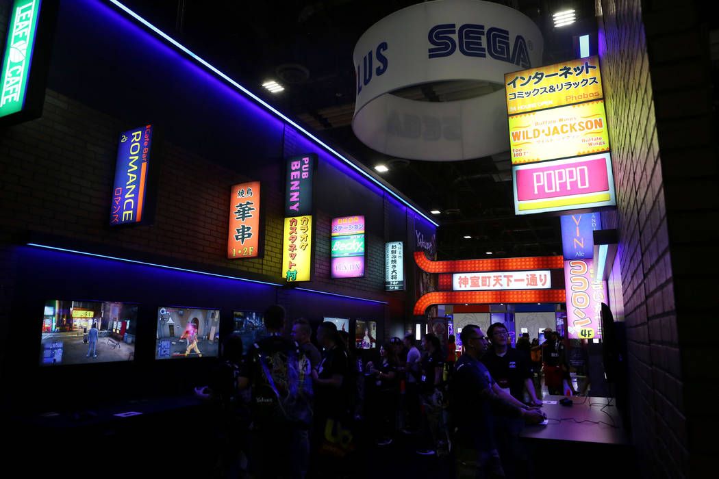 Attendees of the 2017 GameStop Expo play Sega/Atlus  video games at the Sands Expo and Convention Center, Sunday, Aug. 27, 2017 . Elizabeth Brumley Las Vegas Review-Journal