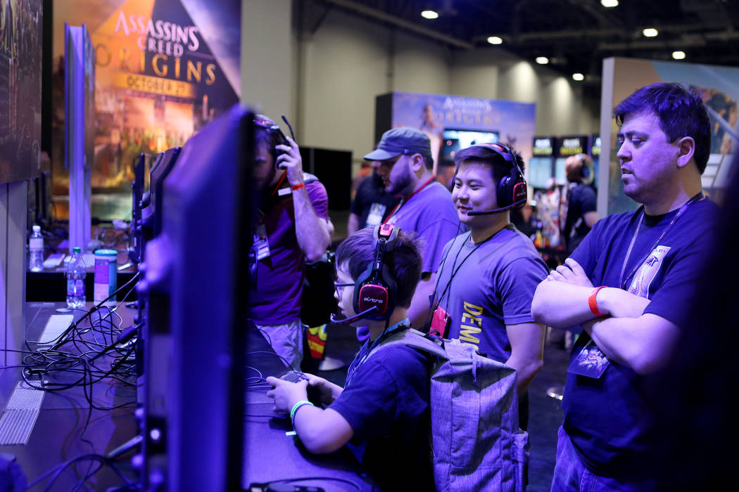 Attendees test the games during the 2017 GameStop EXPO finishes at the Sands Expo and Convention Center, Sunday, Aug. 27, 2017 . Elizabeth Brumley Las Vegas Review-Journal