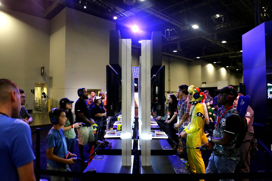 Attendees test the games during the 2017 GameStop Expo at the Sands Expo and Convention Center, Sunday, Aug. 27, 2017 . Elizabeth Brumley Las Vegas Review-Journal