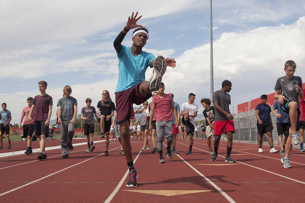 Arbor View varsity's Keith Williams stretches with his teammates before practice at Arbor View High School in Las Vegas, on Tuesday, Aug. 29, 2017.  Gabriella Angotti-Jones Las Vegas Review-Journa ...