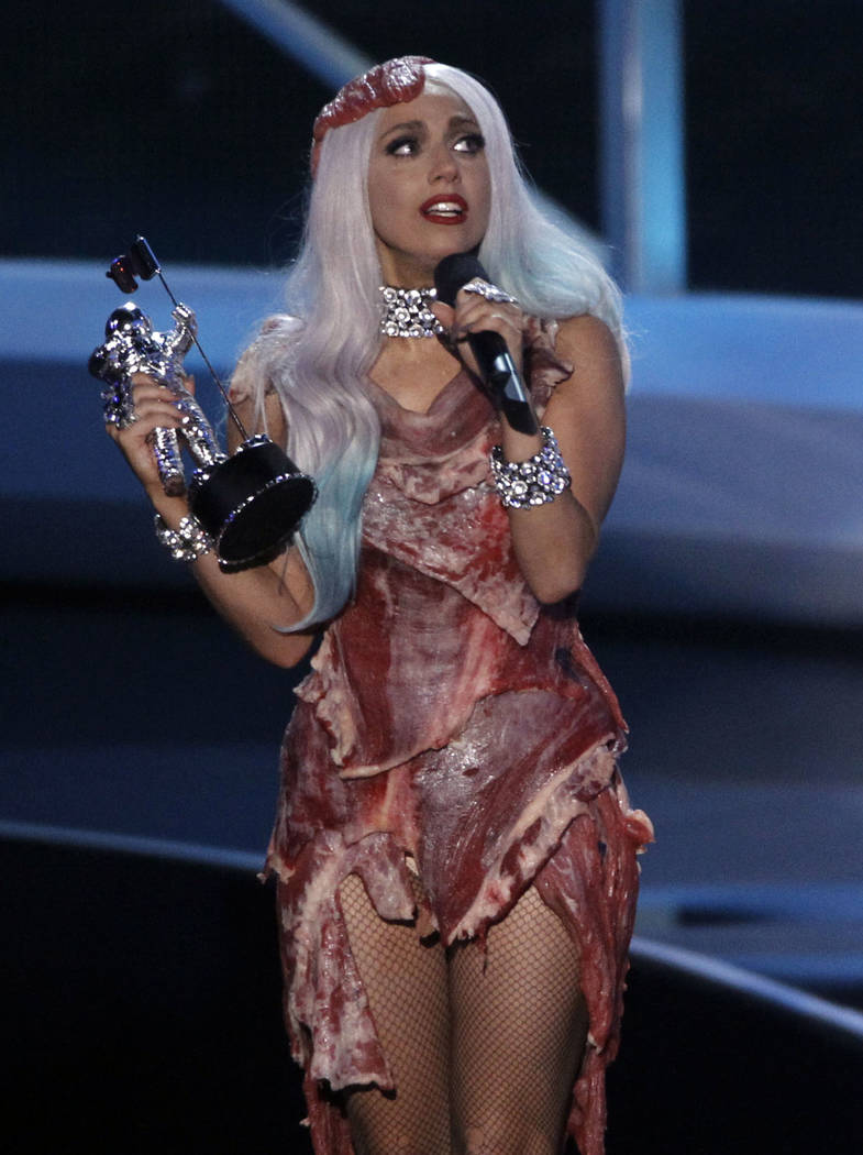 Lady Gaga accepts the award for Video of the Year at the MTV Video Music Awards on Sunday, Sept. 12, 2010 in Los Angeles. (AP Photo/Matt Sayles)