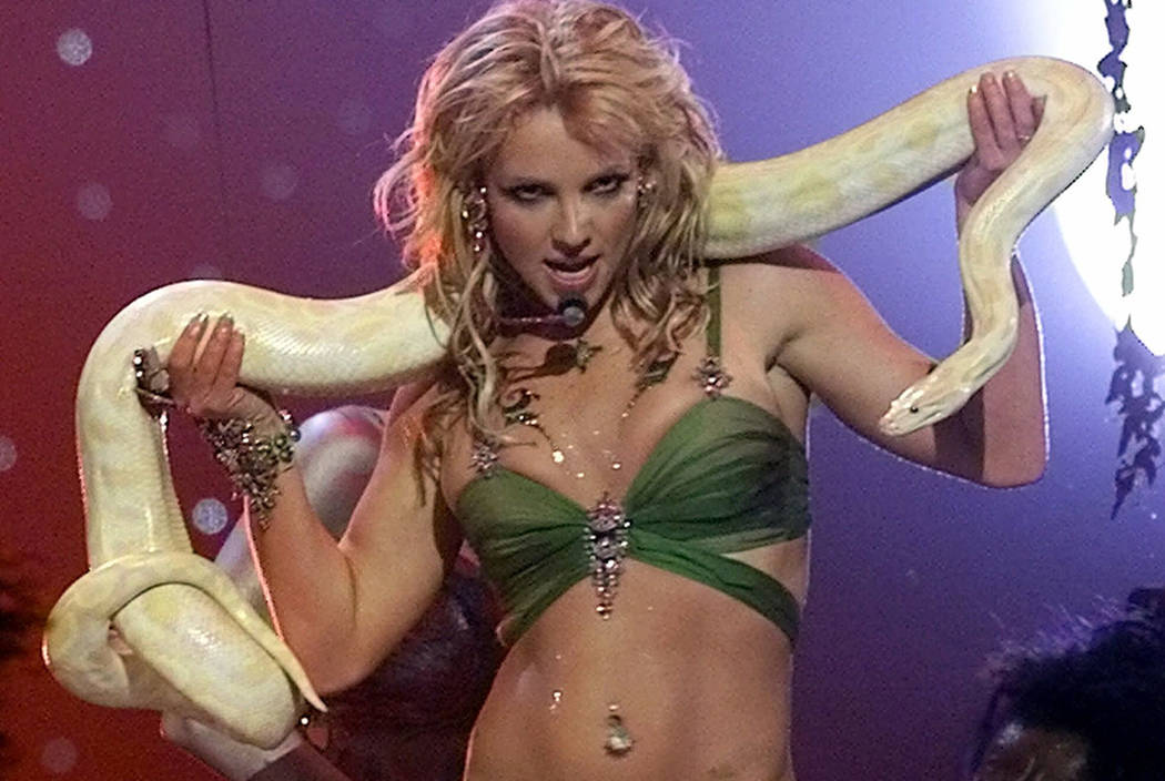 Britney Spears Performs With Snake During The Finale Of The 2001 Mtv Video Music Awards Thursday Sept 6 2001 At New York S Metropolitan Opera House Ap Photo Beth A Keiser Las Vegas Review Journal