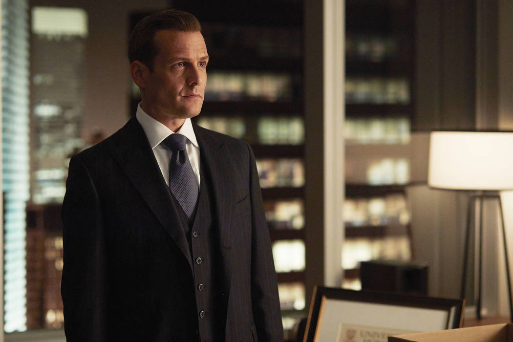 """SUITS -- """"Full Disclosure"""" Episode 707 -- Pictured: Gabriel Macht as Harvey Specter -- (Photo by: Shane Mahood/USA Network)"""