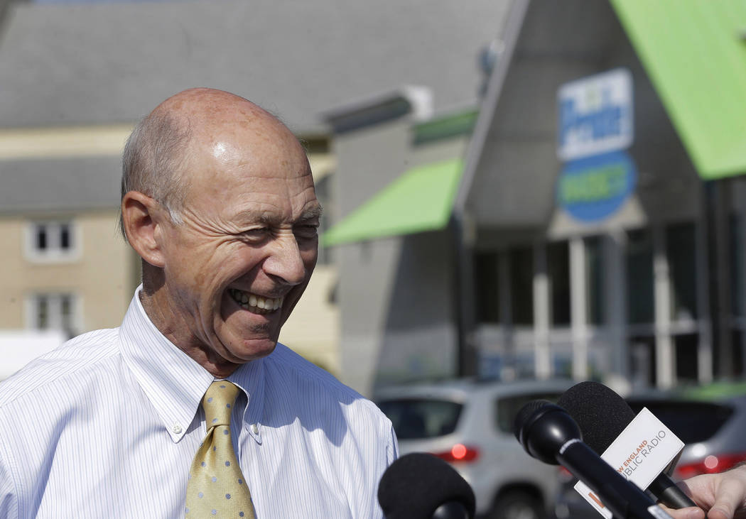 Bob Bolduc, founder and owner of Pride stores, takes questions from members of the media during a news conference at the Pride Station & Store, Thursday, Aug. 24, 2017, in Chicopee, Mass., whe ...