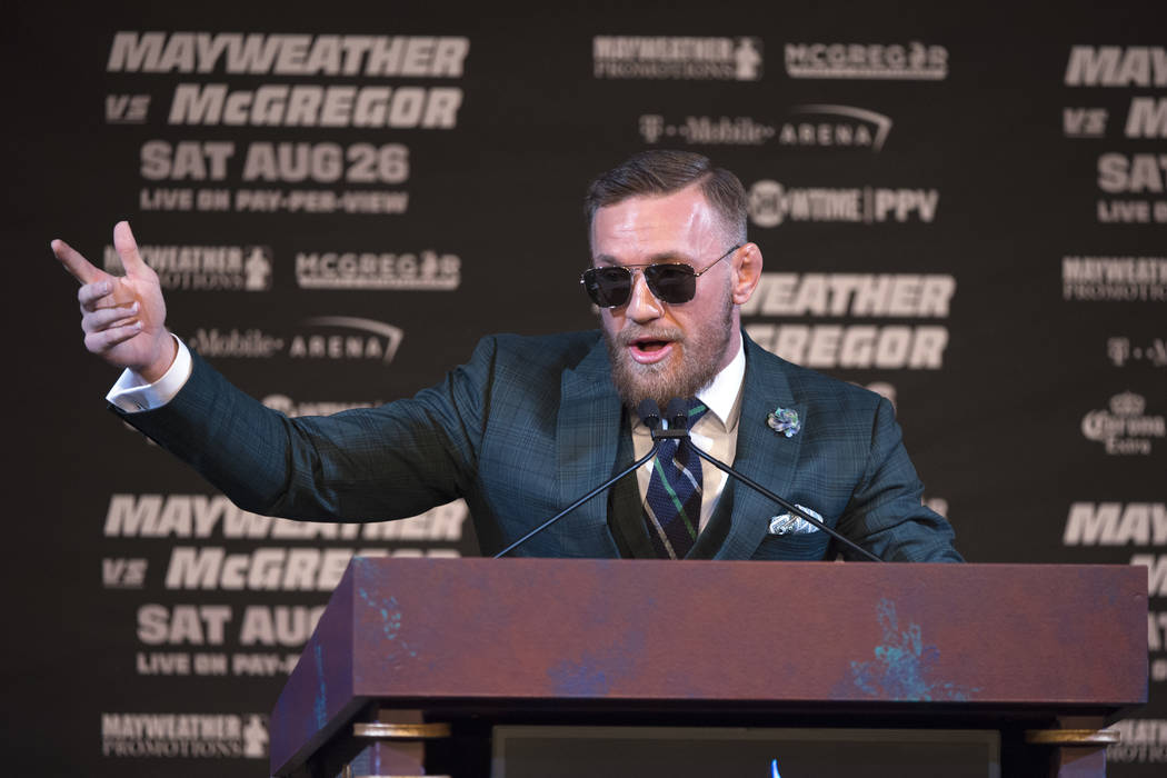 Conor McGregor speaks during the final news conference Wednesday, Aug. 23, 2017, at the MGM Grand before his scheduled Aug. 26 fight against Floyd Maweather. Sam Morris/Las Vegas News Bureau