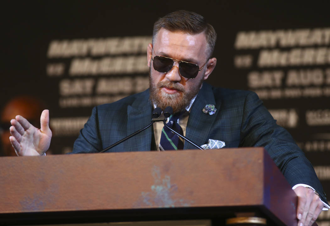 Conor McGregor during the final press conference ahead of his fight against Floyd Mayweather Jr., slated for Aug. 26 at the T-Mobile Arena, at the Ka Theatre at the MGM Grand in Las Vegas on Wedne ...