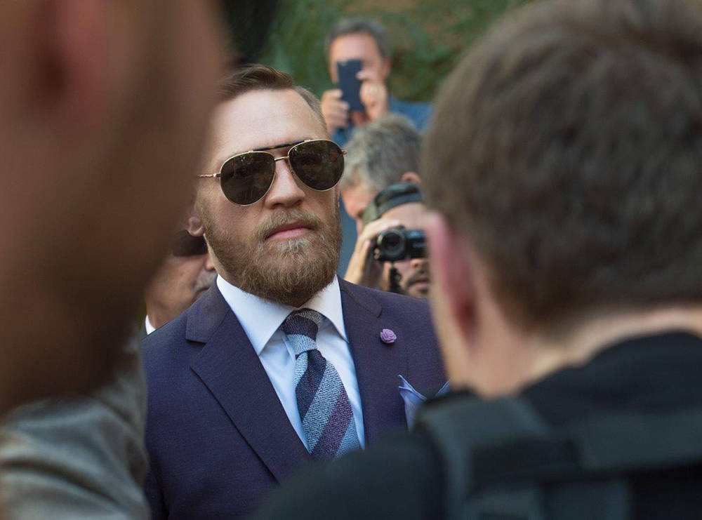 Undefeated boxing champion Floyd Mayweather and MMA hero Conor McGregor counted down the remaining 96 hours to Saturday night's showdown at yesterday's (Aug. 22) initial confrontation. (Tom Do ...