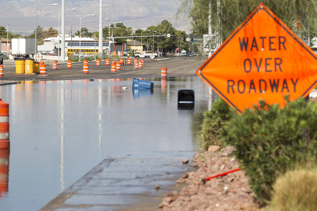 The flooded intersection of East Cheyenne Avenue and North Las Vegas Boulevard in North Las Vegas on Thursday, Aug. 24, 2017. Richard Brian Las Vegas Review-Journal @vegasphotograph