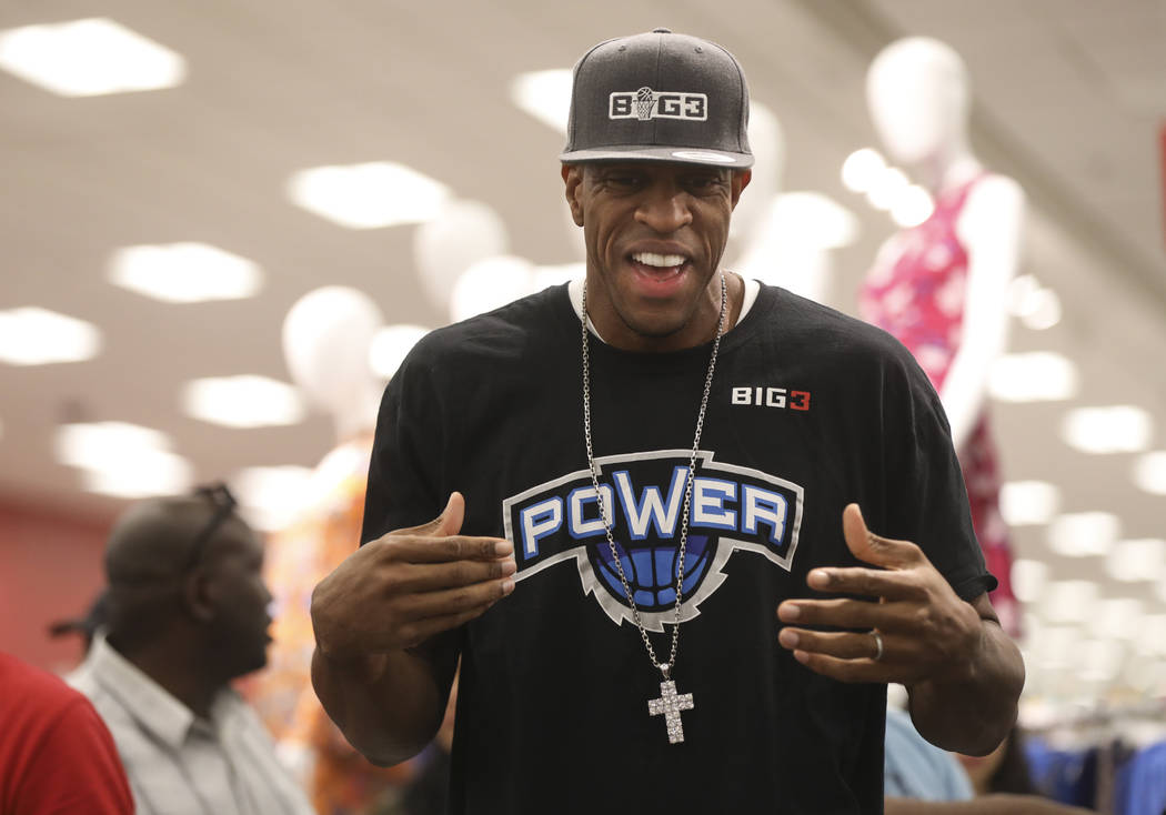 Former NBA player Jerome Williams, now a player in the Big 3 basketball league, during an event held by the Nevada Partnership for Homeless Youth and the Big 3 at Target, 8750 W. Charleston Blvd., ...