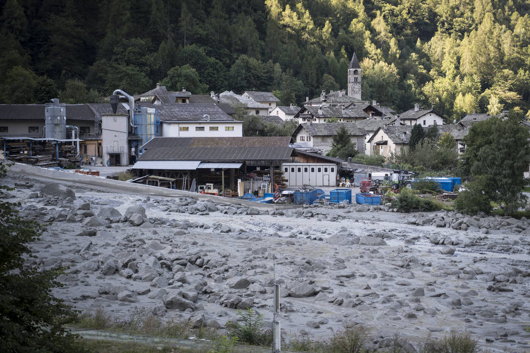 View of the village Bondo in Graubuenden in South Switzerland, Thursday, Aug. 24, 2017. (Gian Ehrenzeller/Keystone via AP)